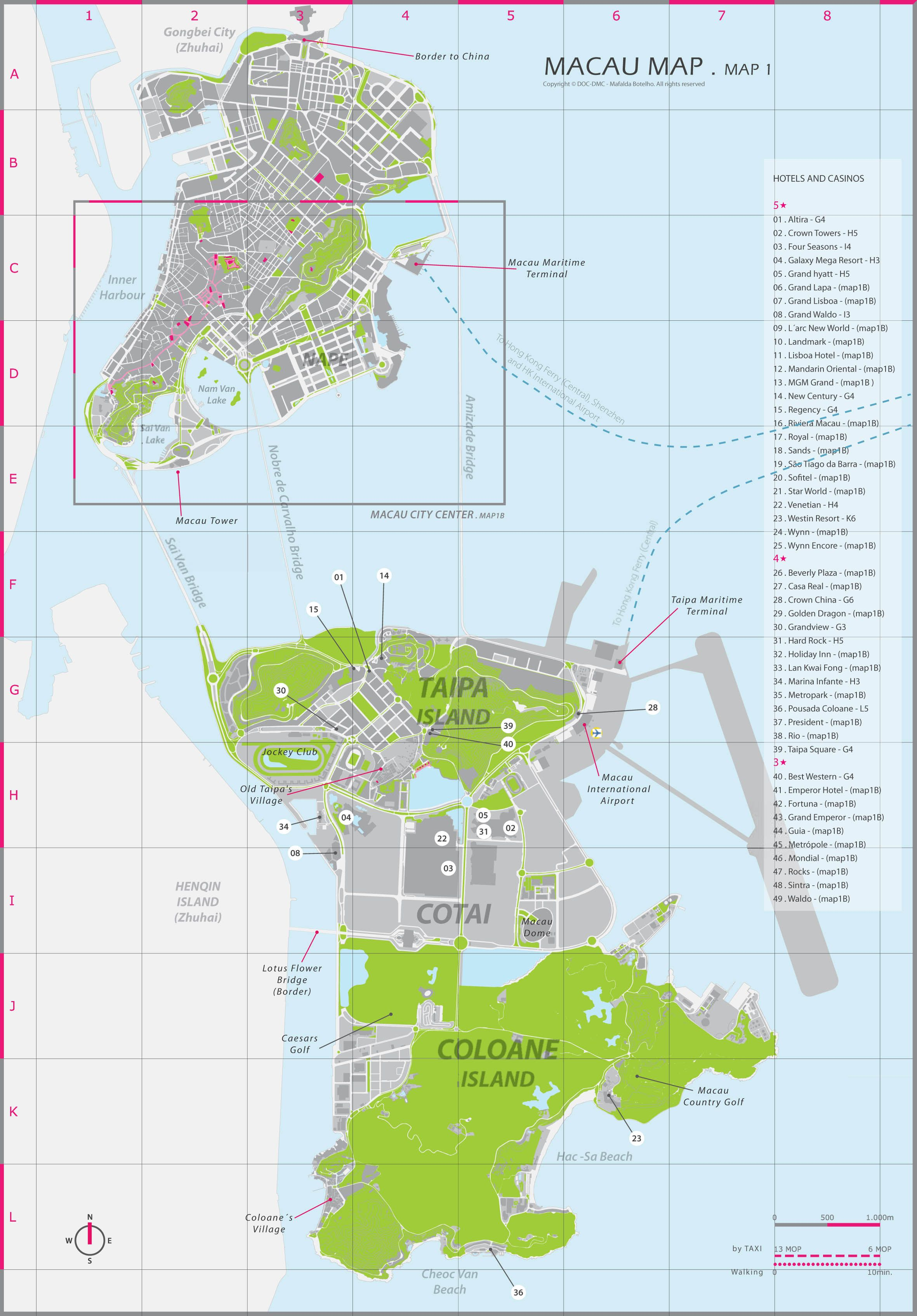 Macau Map (Cotai, Taipa and Coloane)