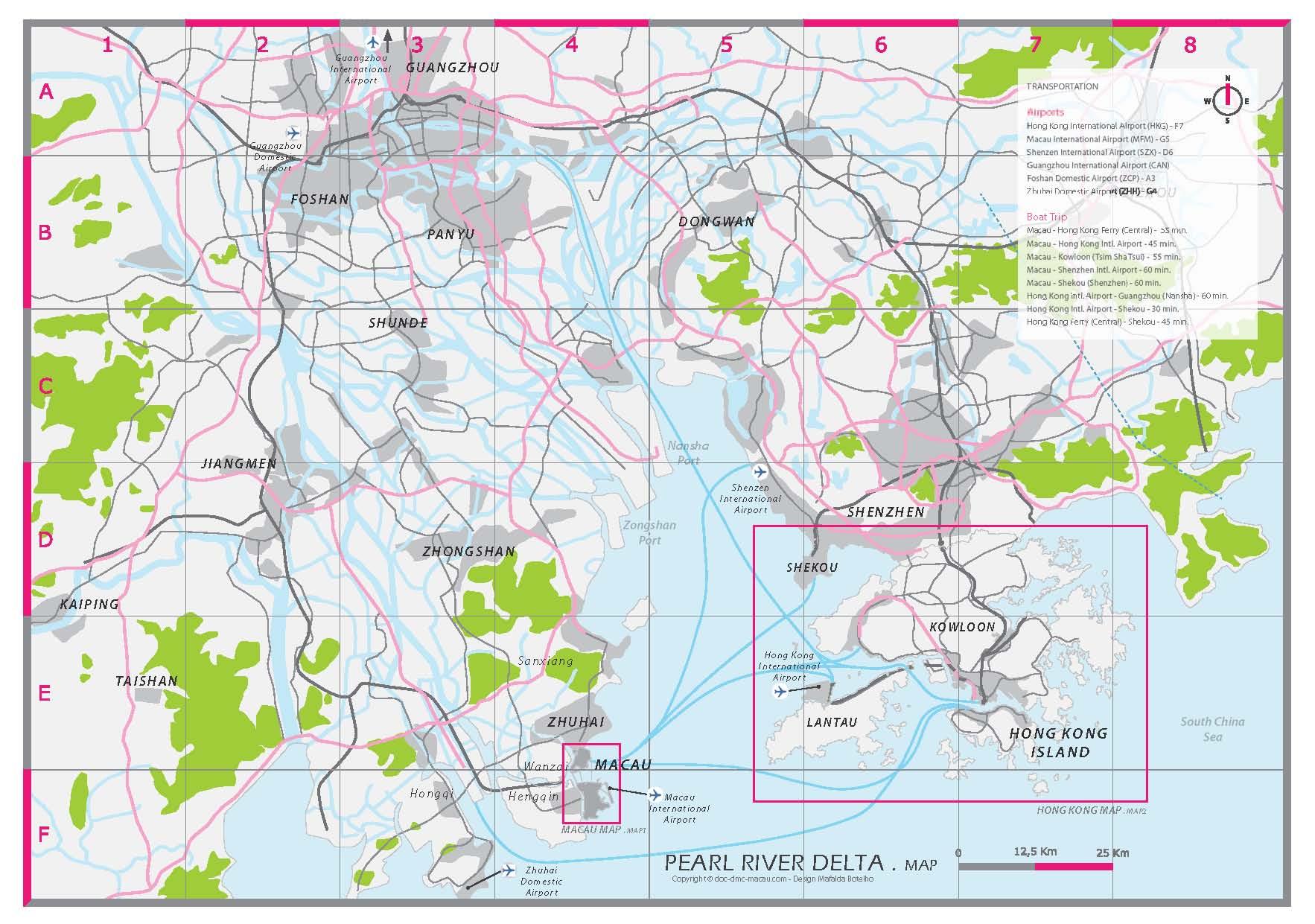 Pearl River Delta Map (Hong Kong, Macau, Zhuhai)